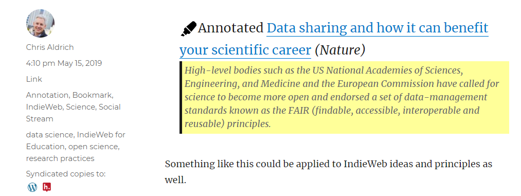 Screenshot of an annotation post with a Hypothes.is syndication icon