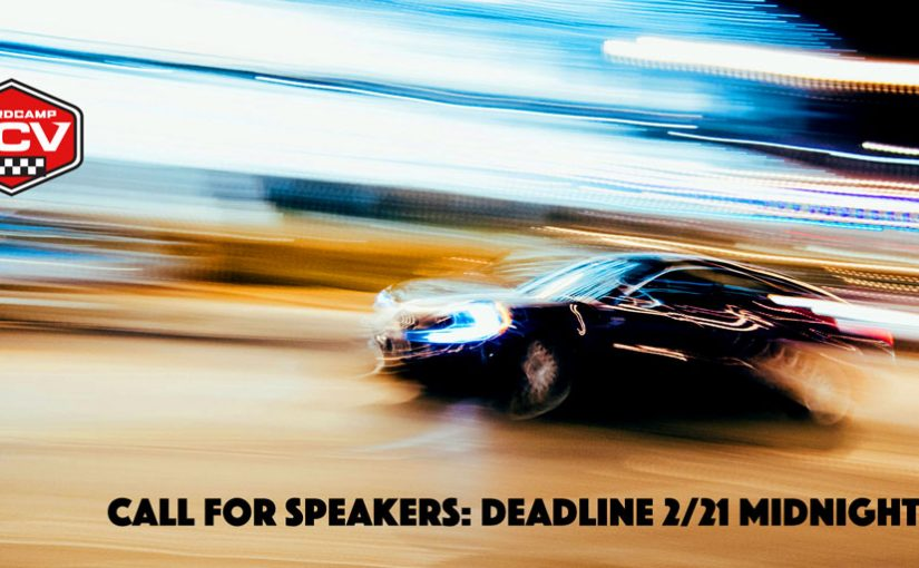 WordCamp Santa Clarita Valley call for speakers overlaid on a blurred photo of a speeding car